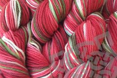 Strawberry,Fields,Dyed,Merino,Wool,Yarn,DK,/,Sport,Weight,Hand Dyed, Merino Wool Yarn, DK / Sport, Red Green White, Strawberry Fields, Primary Red, eweandmeyarns.com