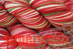 Strawberry,Fields,Hand,Dyed,Wool,Yarn,Fingering,Weight,Merino Wool Yarn, Hand Dyed Yarn, Red White Green, Fingering Weight Yarn, Super Wash, Sock Yarn, Strawberry Fields, Strawberry Red, Primary Red,  eweandmeyarns.com