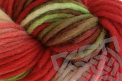 Strawberry,Fields,Hand,Dyed,Wool,Single,Ply,Yarn,#5 Bulky Yarn, Hand Dyed Wool Yarn, Red Natural White and Green, Pencil Roving, Chunky Yarn, Quick Knit Yarn, Strawberry Fields, Strawberry Red, Primary Red, eweandmeyarns.com