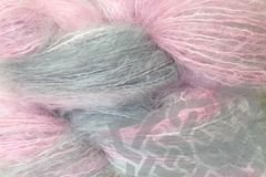Girlie,Girl,2oz,(60g),Mohair,Yarn,Fingering,Weight,Variegated Mohair Yarn, Fingering Weight Yarn, Waldorf Doll Hair, Girlie Girl, Girlie Pink, pink gray, Mohair Yarn, 2 ounce, 60 grams, Large Skein Mohair, Hand Dyed, eweandmeyarns.com, South African Mohair