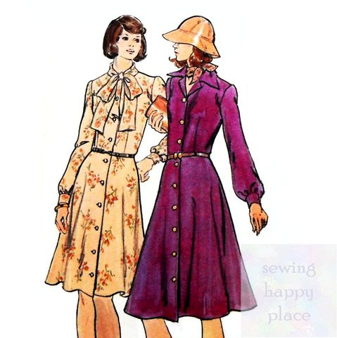 Shirtdress,w,Bow,Neckline,1970s,Pattern.,Flare,Skirt.,Full,Sleeves.,Butterick 3908, fitted bodice, office wear, sewinghappyplace