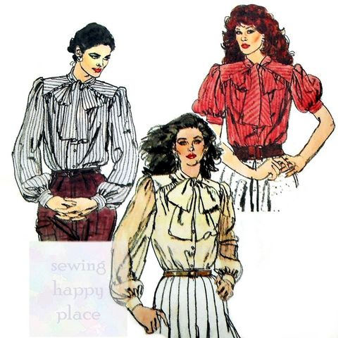 Retro,Romantic,Blouse,w,Bow,Tie,Neckline,1970s,Pattern.,Edwardian,Victorian.,Vogue 8042, gathered yoke, full sleeves