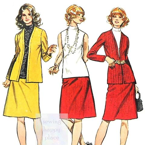 3,Pc,Wardrobe,1970s,Pattern,for,Knits.,Cardigan,Jacket,,Top,,Skirt.,Office,Wear.,Simplicity 9904, stretch knits, casual, travel, weekender, sewinghappyplace