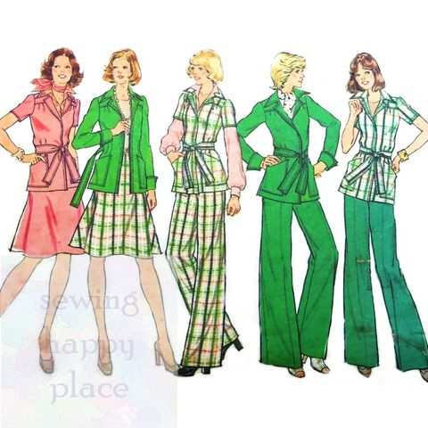 Travel,Separates,1970s,Pattern.,Jacket,,Flare,Skirt,,Wide,Leg,Pants.,Simplicity 6857, womens sewing patterns, sewinghappyplace