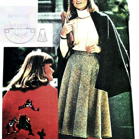 Circular,Cape,and,Skirt,1970s,Pattern.,Embroidery,Transfers.,Twirly,Skirt.,McCalls 4816, circle skirt, dance skirt, sewinghappyplace