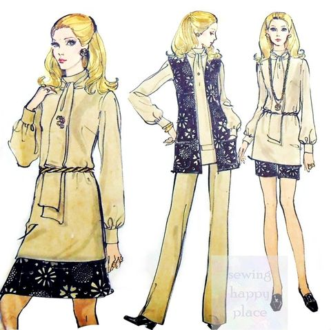 Separates,Blouse,Bow,Tie,Collar,70s,Pattern.,Short,Skirt.,Cigarette,Pants.,Vogue 7781, straight leg pant, skinny pant, office, casual, travel