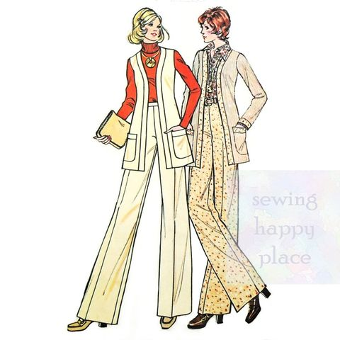 Jacket,Vest,Wide,Leg,Trouser,1970s,Pattern.,Cardigan,Jacket.,Office,Wear.,McCalls 3691, pants, career separates pattern, sewinghappyplace
