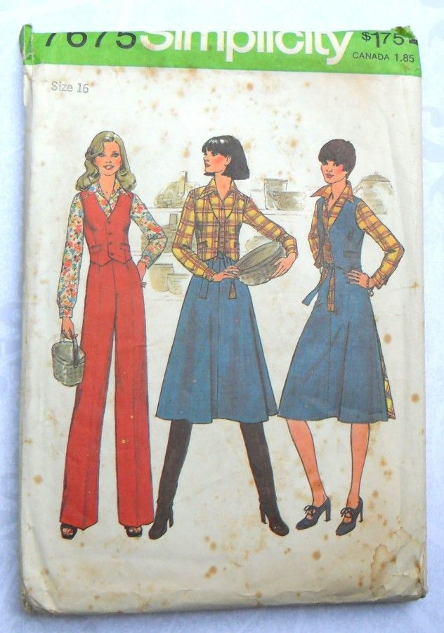 Flared Wrap Skirt 1970s Pattern. Reversible Vest. Pants. Separates Wardrobe. - product images  of