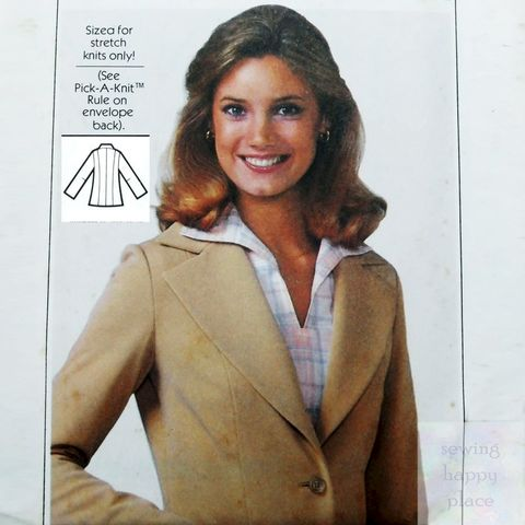 Princess,Line,Jacket,1970s,Pattern.,For,Stretch,Knits.,Notched,Collar.,Simplicity 8445, stretch knit patterns, sewinghappyplace