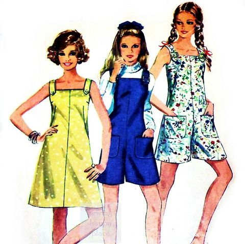 Mini,Pantdress,or,Culottes,Jumper,1960s,Pattern.,Square,Neckline.,Pantjumper.,Simplicity 8196, scooter jumper, scooter skirt, sundress, summer, 60s, sewinghappyplace