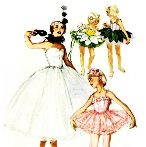 Girls,Flower,Fairy,Ballet,Petal,Tutu,1960s,Pattern.,Harlequin,Hat.,Neck,Ruff.,Simplicity 4863, costume sewing patterns, sewinghappyplace