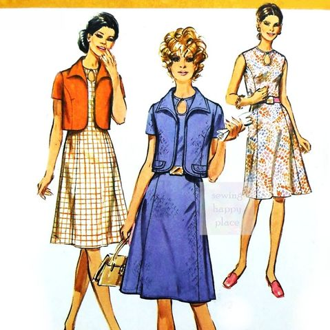 Jacket,Dress,Suit,1970s,Pattern.,Princess,Lines.,Keyhole,Neckline.,Career,Wear.,sewinghappyplace