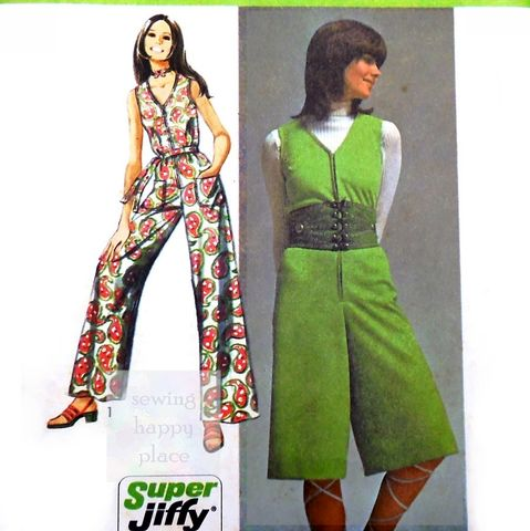One,pc.,Jumpsuit,Midi,or,Maxi,Length,1970s,Pattern.,Super,Jiffy.,Body,cut,as,one.,Simplicity 9318, jumpsuit, mod, retro, sewinghappyplace 70s patterns