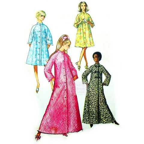 Long,or,Short,Robe,1970s,Pattern.,Raglan,Sleeves.,Mandarin,Collar.,Button,Front.,vintage 70s patterns, sewinghappyplace, pjs, lounge wear, winter, Simplicity 9074
