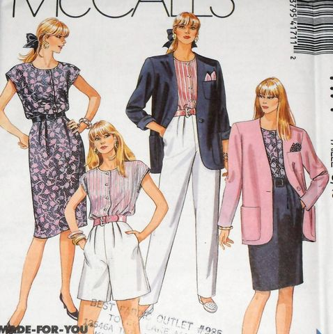 Misses,Office,Separates,1980s,Pattern.,Jacket,,Pants,,City,Shorts,,Pleated,Skirt.,sewinghappyplace, vintage sewing patterns, McCalls 4171, city shorts, boxy jacket, casual office wear