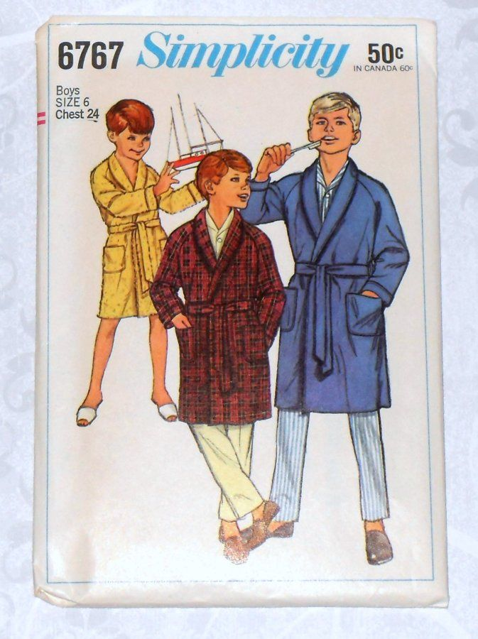 Boys Robe 1960s Pattern Wrap Close Raglan Sleeves Shawl Collar Simplicity 6767 - product images  of