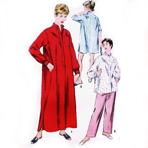 Nightshirt,Big,Sleep,Shirt,50s,Pattern,PJs,Pajamas,Split,Shirttail,Simplicity,4907,sewinghappyplace, Sewing Pattern, Vintage, 50s