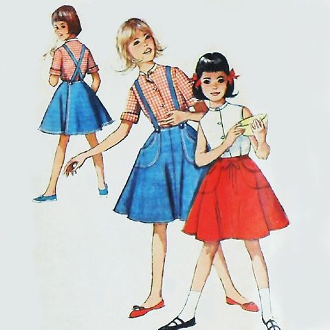 Girls,Wrap,Skirt,Blouse,1960s,Pattern,Suspenders,sz,7,Circle,Simplicity,4961, sewinghappyplace, vintage, sewing pattern,