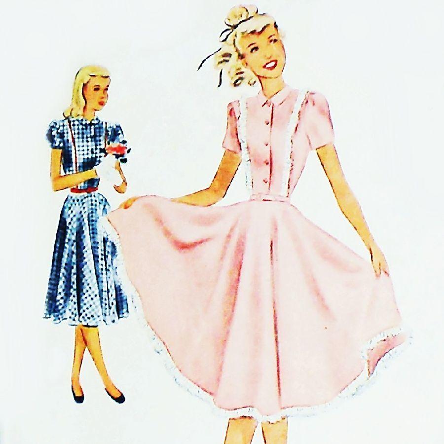 Sweet girls dress 1940s pattern full circle skirt sz 7 puff sweet girls dress 1940s pattern full circle skirt sz 7 puff sleeves mccalls 7033 jeuxipadfo Gallery