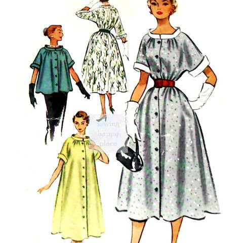 Swing,Duster,Dress,or,Jacket,1950s,Pattern,Maternity,Wasp,Waist.,sewinghappyplace, Sewing Pattern, Vintage