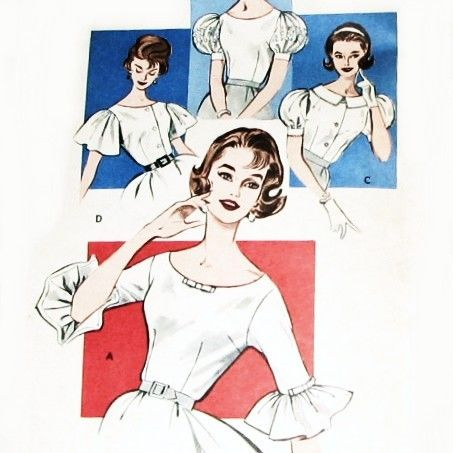 Fitted,Blouse,w,Sleeve,options,1960s,Pattern.,Scooped,Neckline.,Retro,Rockabilly.,sewinghappyplace, Sewing Pattern, Vintage