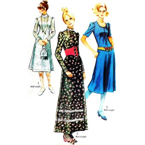 Boho,Prairie,Dress,1970s,Pattern.,Midi,Maxi.,Deep,Scoop,Neckline.,sewinghappyplace, Sewing Pattern, Vintage