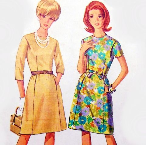 Dressy,Day,Dress,60s,Pattern.,Fitted,Bodice.,Hidden,Pockets,Jewel,Neckline.,sewinghappyplace, Sewing Pattern, Vintage