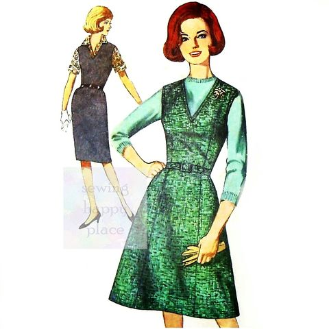 Jumper,w,Slim,Wiggle,or,A,line,Skirt.,1960s,Pattern.,Uncut.,Mad,Men,sewinghappyplace, Sewing Pattern, Vintage