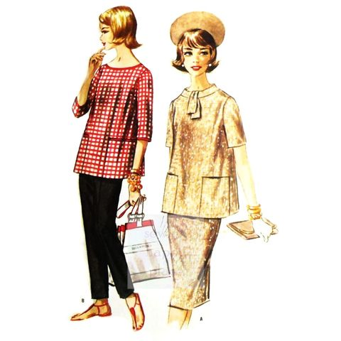 Maternity,Separates,1960s,Pattern,Slim,Pants,Pencil,Skirt,Top,sewinghappyplace, Sewing Pattern, Vintage