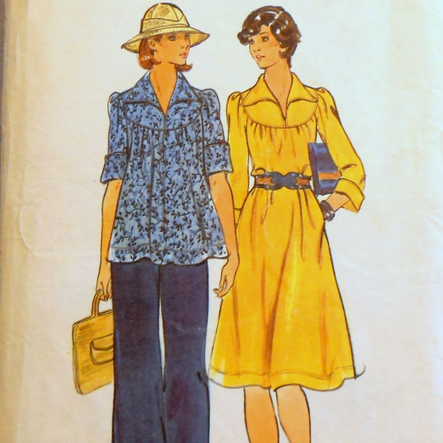Relaxed Fit Dress or Tunic and Pants 1970s Pattern. Yoke Raglan Sleeve - product images  of