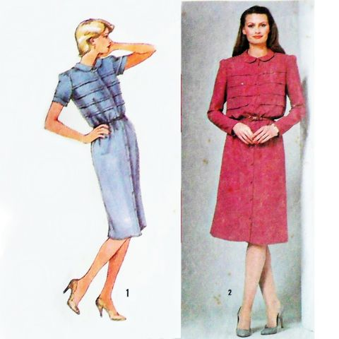 Dress,w,Bodice,Tucks,1980s,Pattern.,Slim,Skirt.,Dressy,Office,Occasion,sewinghappyplace, Sewing Pattern, Vintage