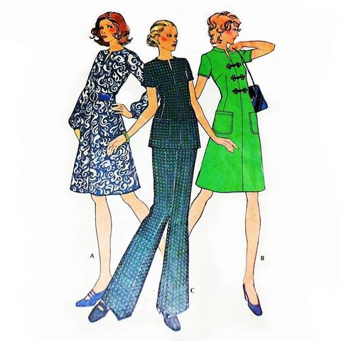 Fit,Flare,Aline,Dress,or,Tunic,1970s,Pattern.,Mandarin,Collar.,Pants,sewinghappyplace, Sewing Pattern, Vintage