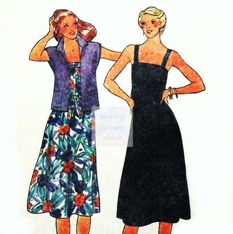 Loose,Fit,A,line,Sundress,1970s,Pattern.,Unlined,Drop,Shoulder,Jacket.,sewinghappyplace, Sewing Pattern, Vintage