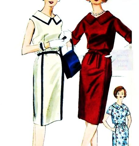 Dress,Slim,Skirt,1960s,Pattern.,Contrast,Colorblock,Detail.,sewinghappyplace, Sewing Pattern, Vintage