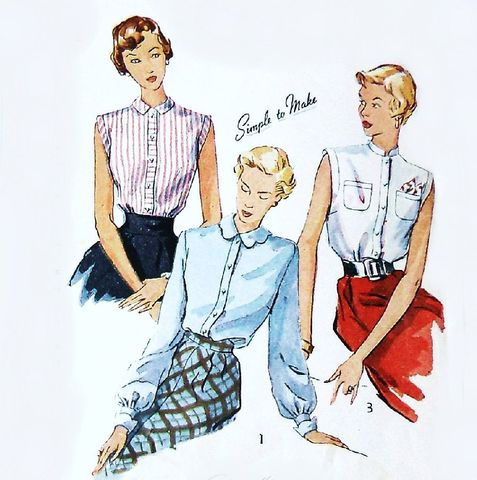 1940s,Blouse,Pattern.,Collar,Variations.,Pan,Scallop,Stand,up.,sewinghappyplace, Sewing Pattern, Vintage