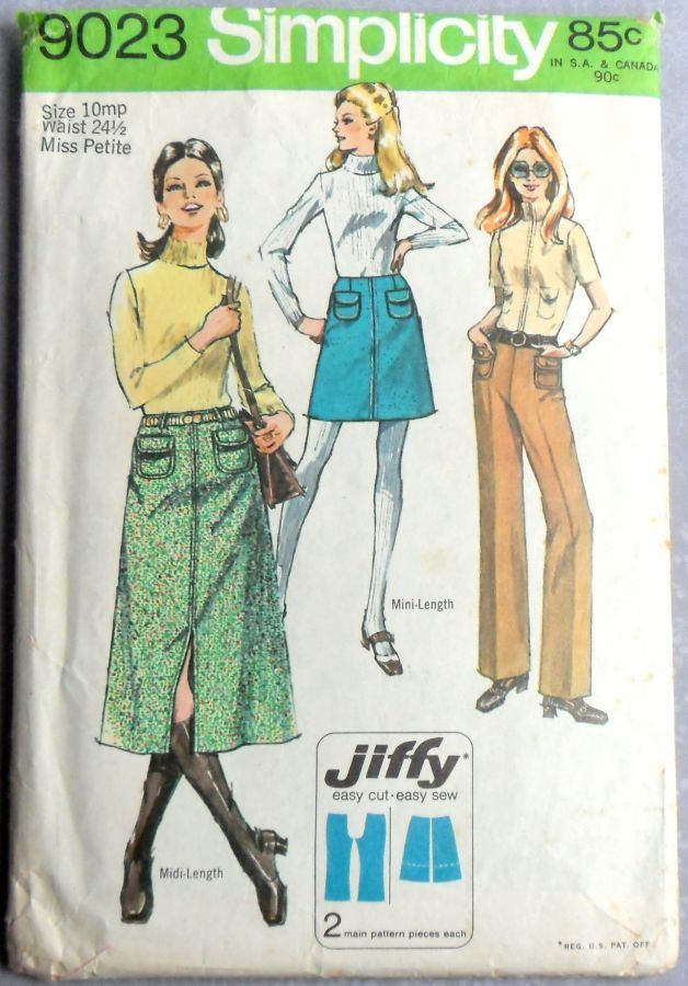 A line Midi Mini Skirt 1970s Pattern sz 10petite Hollywood Waist Pants - product images  of