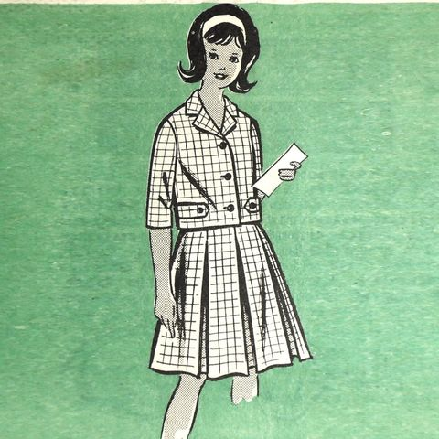 Girls,2,pc,Preppy,Suit/,1960s,Pattern/,sz,8/,Inverted,Pleat,Full,Skirt,sewinghappyplace, Sewing Pattern, Vintage