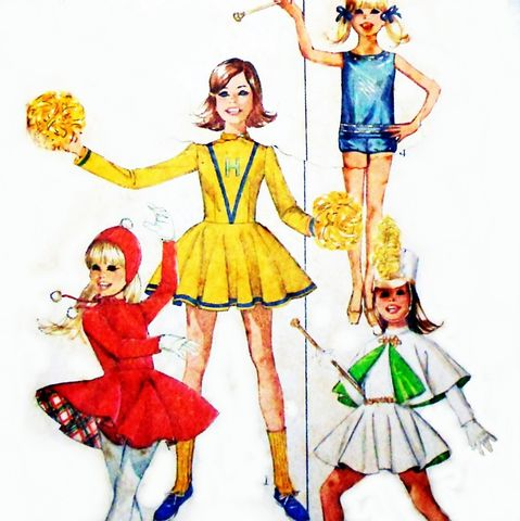 Girls,Uniform,Costume,Majorette,Cheerleader,Skating,Baton,60s,Pattern,sewinghappyplace, Sewing Pattern, Vintage