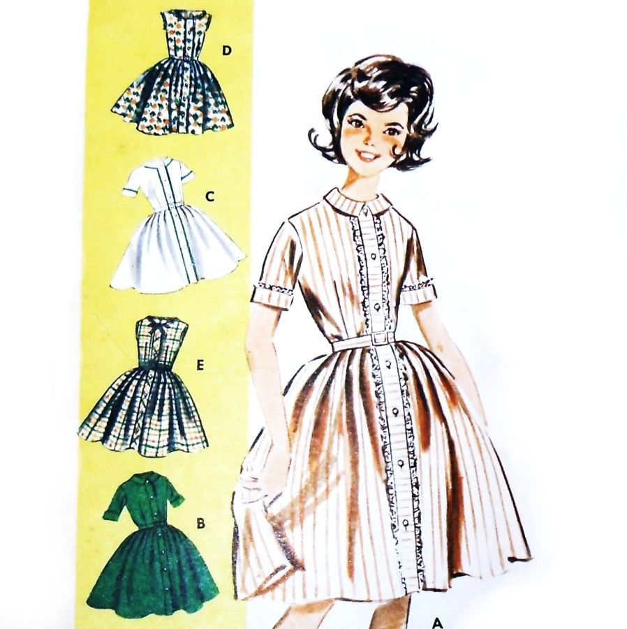 Girls Fitted Bodice Dress 1960s Pattern. Rockabilly Full Skirt.5 Looks - product images  of