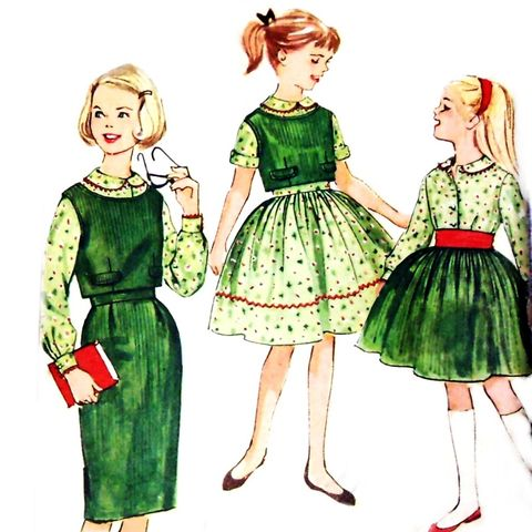 Girls,Separates,Full,Skirt,Pencil,1960s,Pattern.,School,Day,Cute.,sewinghappyplace, Sewing Pattern, Vintage