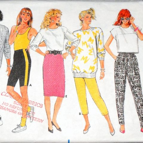 Pull,on,Separates,1980s,Pattern.,Bike,Shorts,,Capris,,Leggings,,Skirt,sewinghappyplace, Sewing Pattern, Vintage