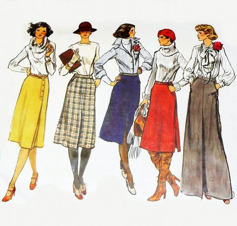 Straight,Skirt,Variations.,1970s,Pattern.,Day,Evening,Length.,Midi,Maxi.,sewinghappyplace, Sewing Pattern, Vintage
