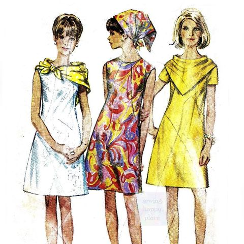 Dress,w,2,Scarves.,1960s,Pattern.,Dart,Interest,Detail.,Scarf,Cowl,sewinghappyplace, Sewing Pattern, Vintage