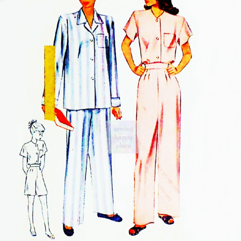 Pajamas,Lounge,wear.,1940s,Pattern.,Long,or,Short.,Notch,Collar,sewinghappyplace, Sewing Pattern, Vintage