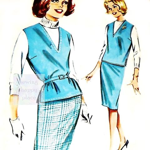 Slim,Wiggle,Skirt.,1960s,Pattern.,Pullover,V,neck.,Mad,Men,era.,sewinghappyplace, Sewing Pattern, Vintage