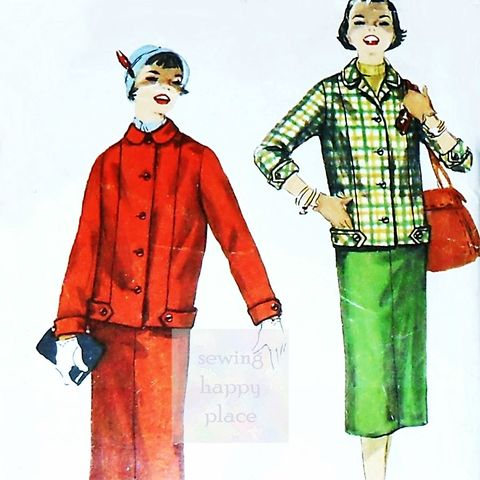 Band,and,Button,Trim,Jacket.,Slim,Skirt.,1950s,Pattern.,Autumn,Casual,sewinghappyplace, Sewing Pattern, Vintage