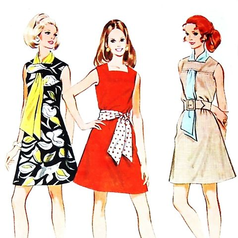 Dress,with,Scarf.,1970s,Pattern.,Neckline,Detail.,A,line,Shift,sewinghappyplace, Sewing Pattern, Vintage
