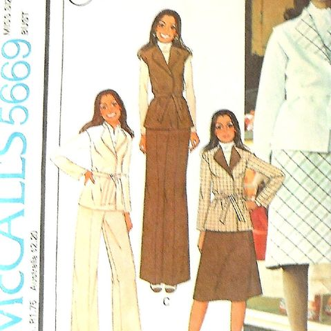 Skirt,Vest,Jacket,Pants.,Marlo.,1970s,Pattern.,Office,Casual.,Uncut,sewinghappyplace, Sewing Pattern, Vintage