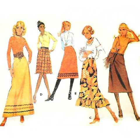 A,line,Skirt,in,4,Lengths.,1970s,Pattern.,Rick,Rack,Fringe,Ruffle.,sewinghappyplace, Sewing Pattern, Vintage