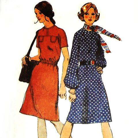 Dress,w,Yoke,Kimono,Sleeves.,1970s,Pattern.,Relaxed,Fit,sewinghappyplace, Sewing Pattern, Vintage